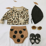 Girls Knitted Dot Bottom And Leopard Top