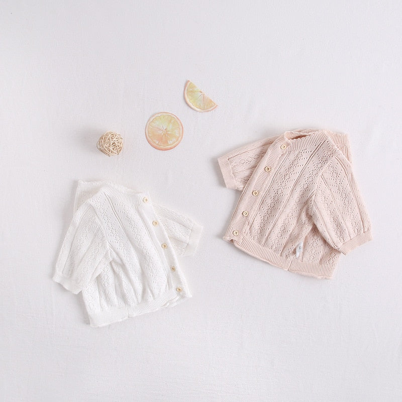 Baby Girls Knitted Cardigan + Bonnet - Little Swan Boutique