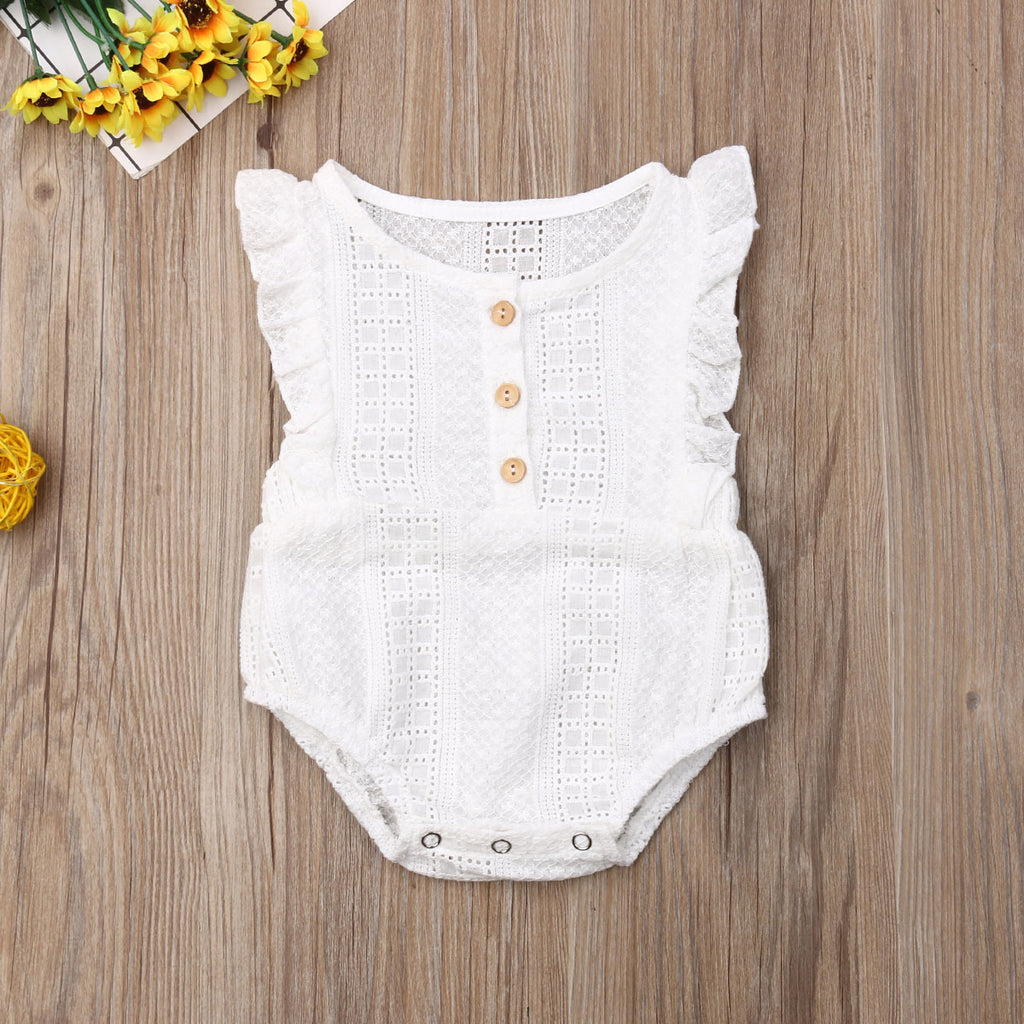 Baby Girls Casual Sleeveless Ruffled Summer Romper