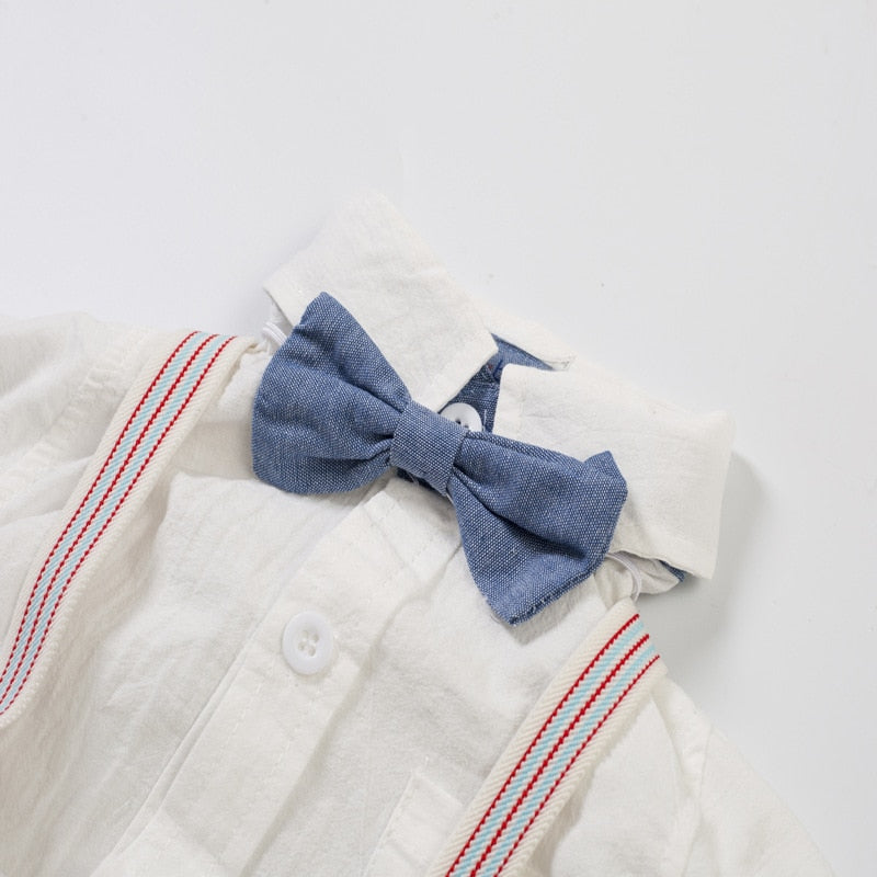 Adorable Baby Boys Gentleman Bow-Tie Shirt + Suspender Pants - Little Swan Boutique