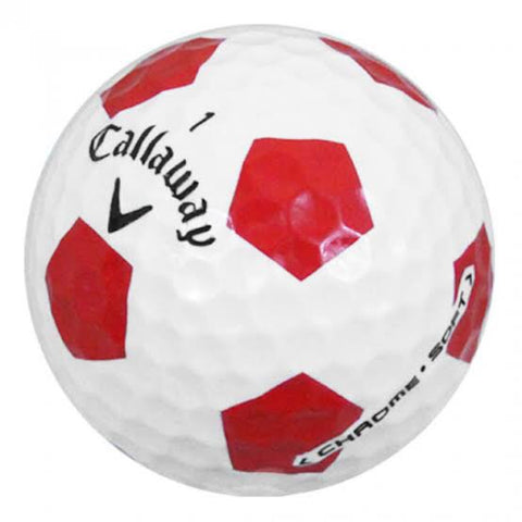 Callaway Chrome Soft Truvis White/Red Pattern - AAA Grade Used Golf Balls