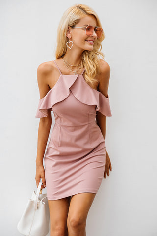 Sexy  Strap cold shoulder ruffle winter dress - Dilly Dally Store