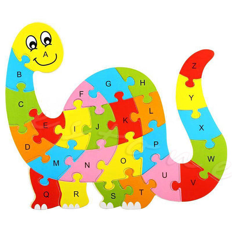 Wooden Animal Puzzle Numbers Alphabet Jigsaw Learning Educational Toy - Dilly Dally Store
