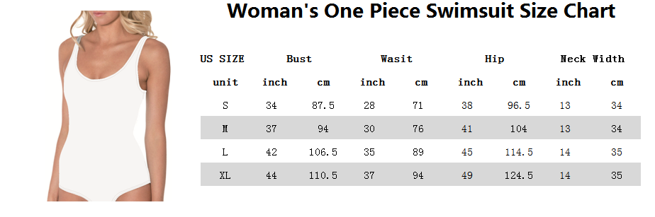 Woman's One Piece Swimsuit Size Chart