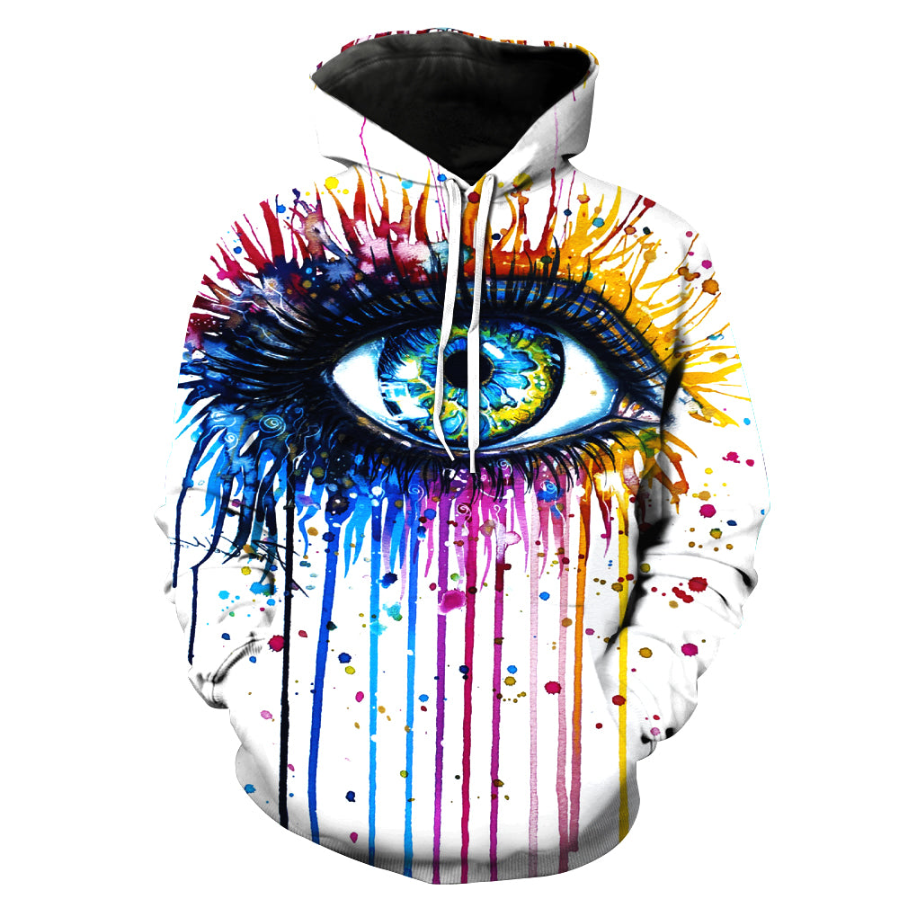 Colorful Big Eyes Pattern Pocket 3D Painted Hoodie - Novel3d
