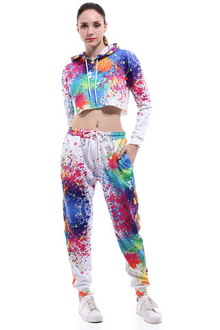 Colorful Art 3D Printed Women Crop top Tracksuit Sets - Novel3d
