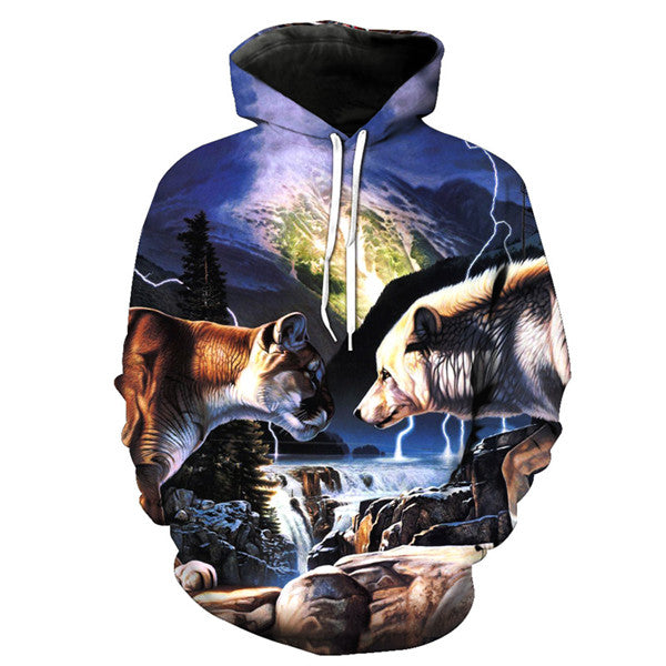 Wolf and Lion Print Funny Hoodie Sweatshirt - Novel3d