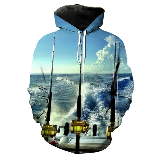 Blue Sky Ocean Fish  Hooded Sweatshirt - Novel3d