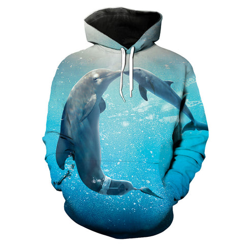 Blue Hoodie Playful Dolphin - Novel3d