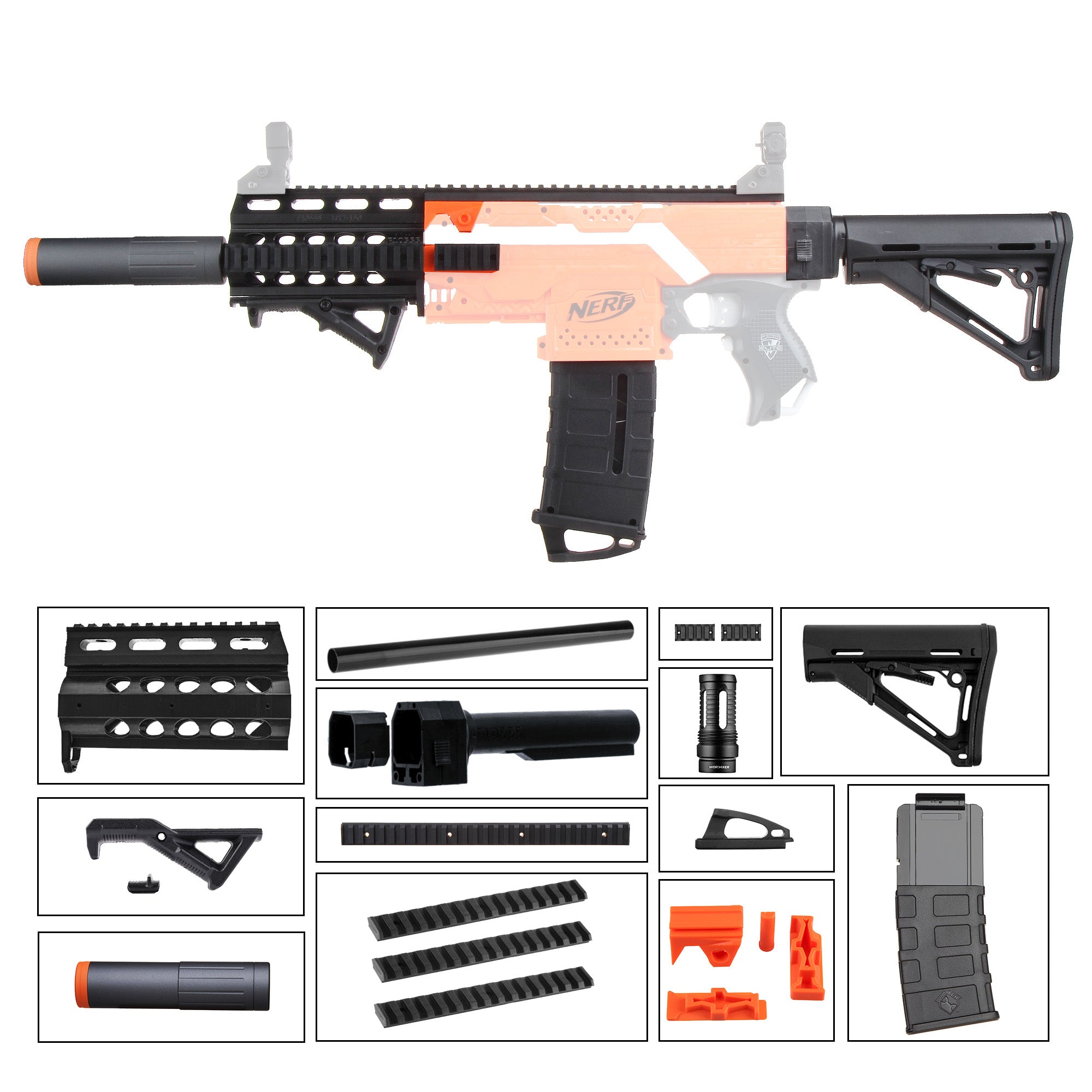 JGCWorker STF-W013 M4 Style Mod Kits Set for Nerf N-Strike Elite Stryfe Blaster - Nerf Mod Kits -Worker Mod Kits