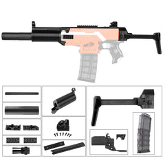 JGCWorker STF-W007 MP5-SD Style Mod Kits Set With Black Adaptor for Nerf N-Strike Elite Stryfe Blaster - Nerf Mod Kits -Worker Mod Kits