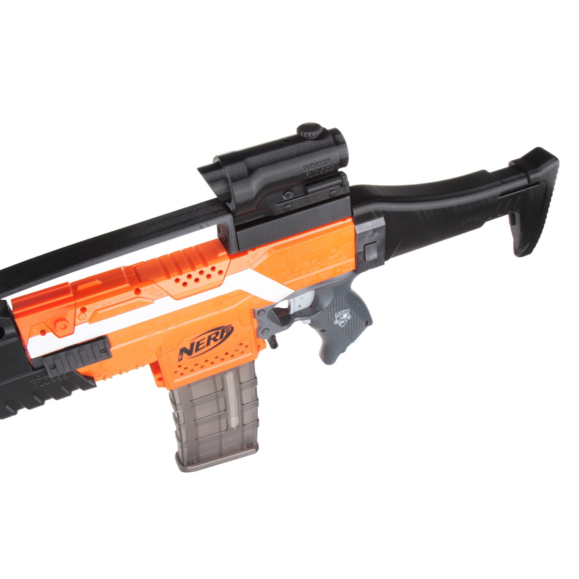 JGCWorker STF-W010 XM8 Mod Kits Set With Orange Adaptor And Long Front Tube for Nerf N-Strike Elite Stryfe Blaster - Nerf Mod Kits -Worker Mod Kits