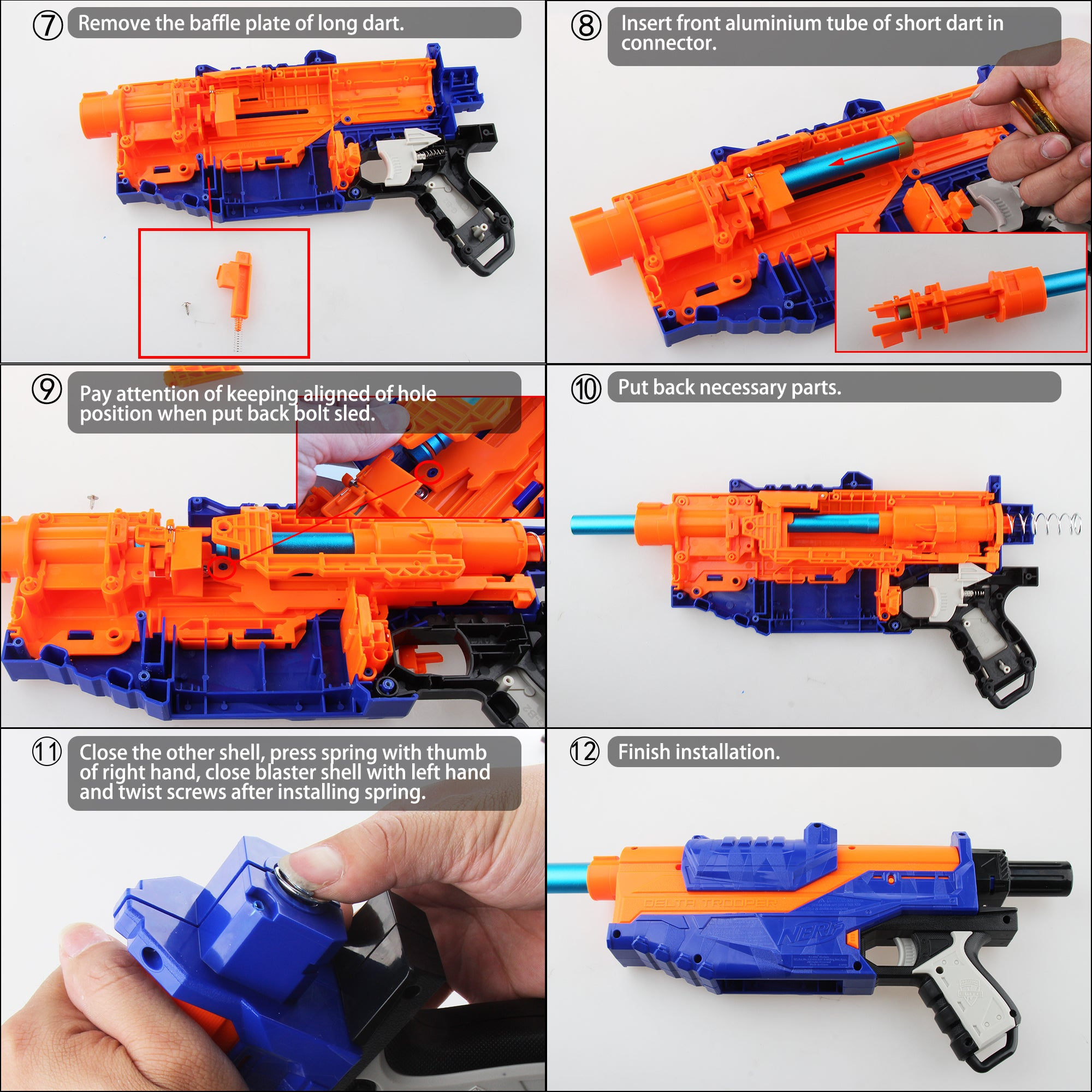 JGCWorker Short Darts Modification Kit Set for Nerf N-Strike Elite Delta Trooper - Nerf Mod Kits -Worker Mod Kits