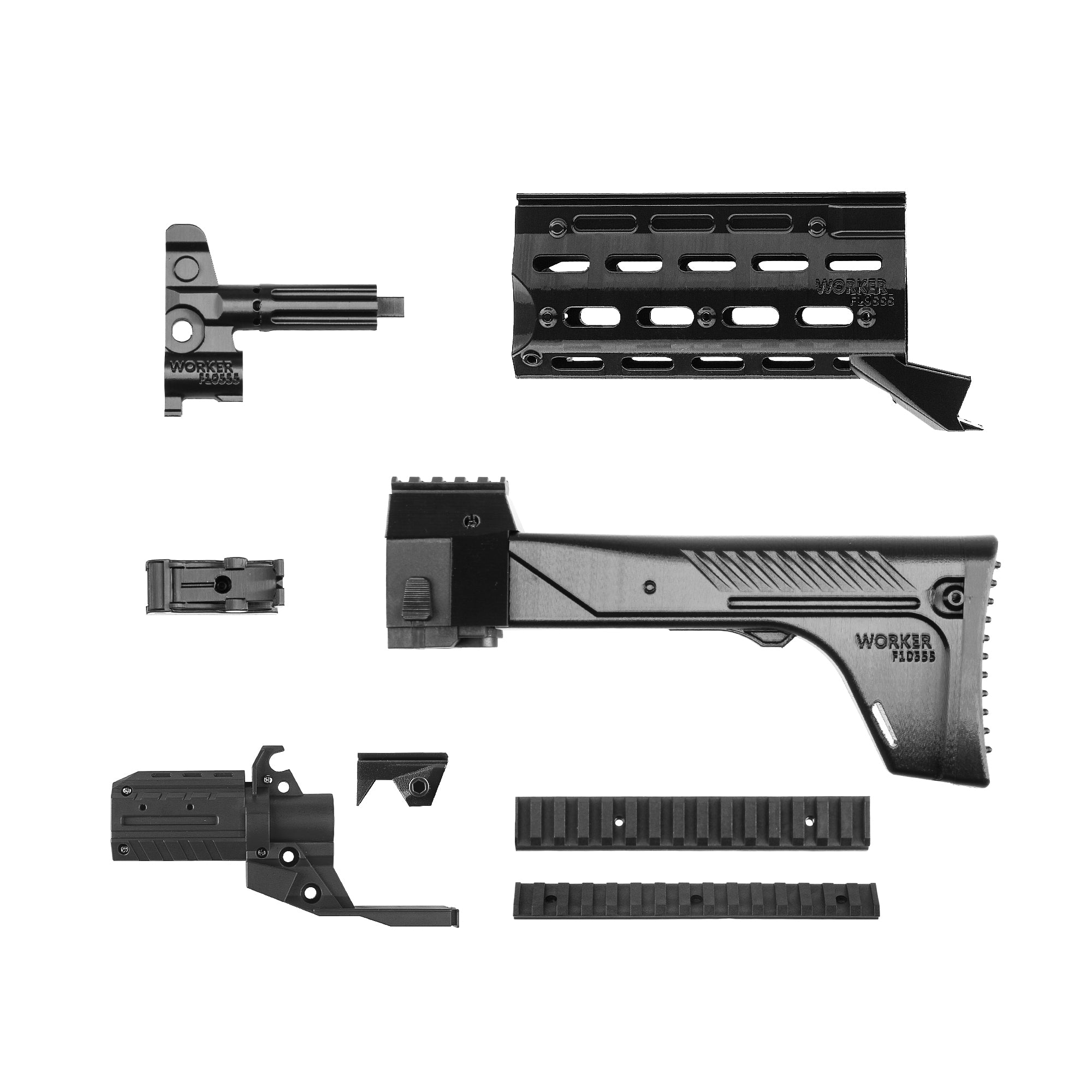 JGCWorker STF-W001 AK-12 A Style Mod Kits Set With Black Adaptor for Nerf N-Strike Elite Stryfe Blaster - Nerf Mod Kits -Worker Mod Kits