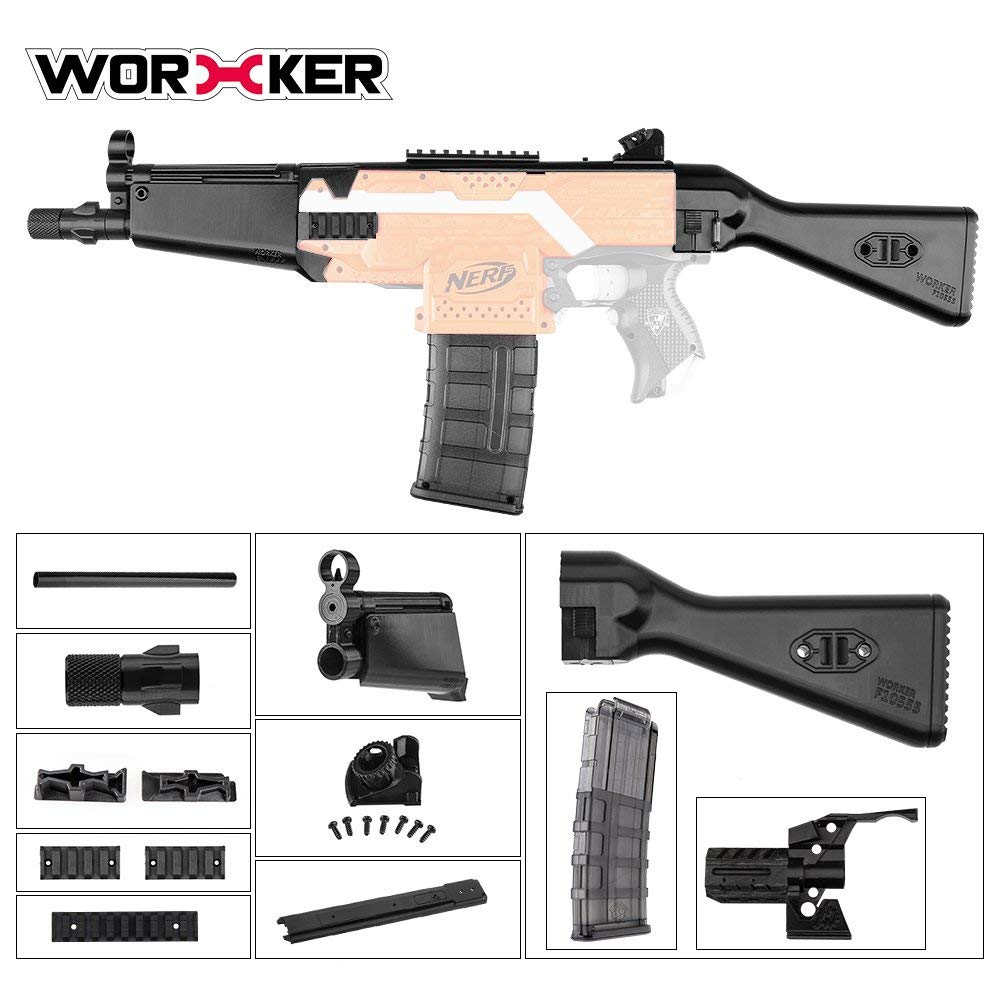 JGCWorker Worker Mod F10555 3D Printing No.114 MP Style Module A Combo 10 Items for Nerf Stryfe Modify Toy Color Black - Nerf Mod Kits -Worker Mod Kits