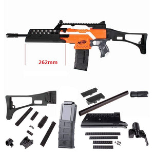 JGCWorker F10555 3D Printing No.115 G36 Long Two-row-hole Imitation Kit Combo 12 Items for Nerf Stryfe Modify Toy Color Black(Blaster not included) - Nerf Mod Kits -Worker Mod Kits