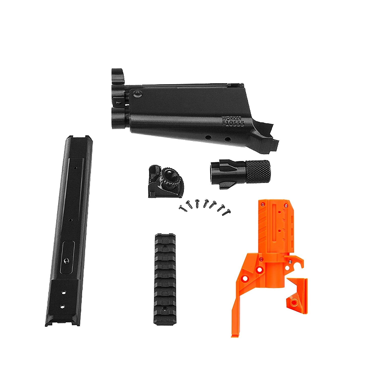 JGCWorker F10555 No.114 3D Printing MP5-A Front Tube Kits With Adaptor for Nerf N-Strike Stryfe Color Black - Nerf Mod Kits -Worker Mod Kits