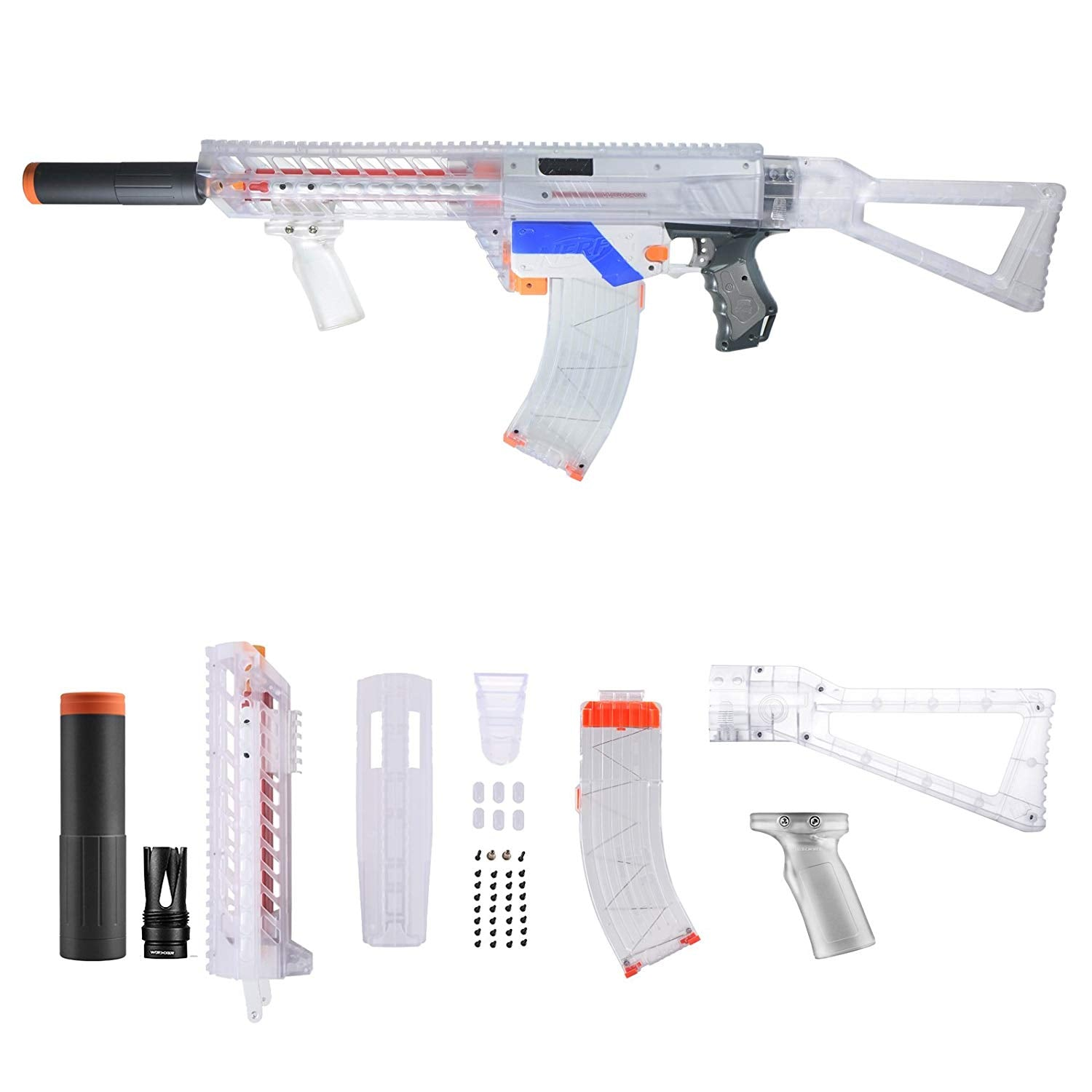 JGCWorker F10555 Pump Kits Clear Body Cover Combo 6 Items For Nerf Retaliator Blaster Modify Toy (Blaster not included) - Nerf Mod Kits -Worker Mod Kits