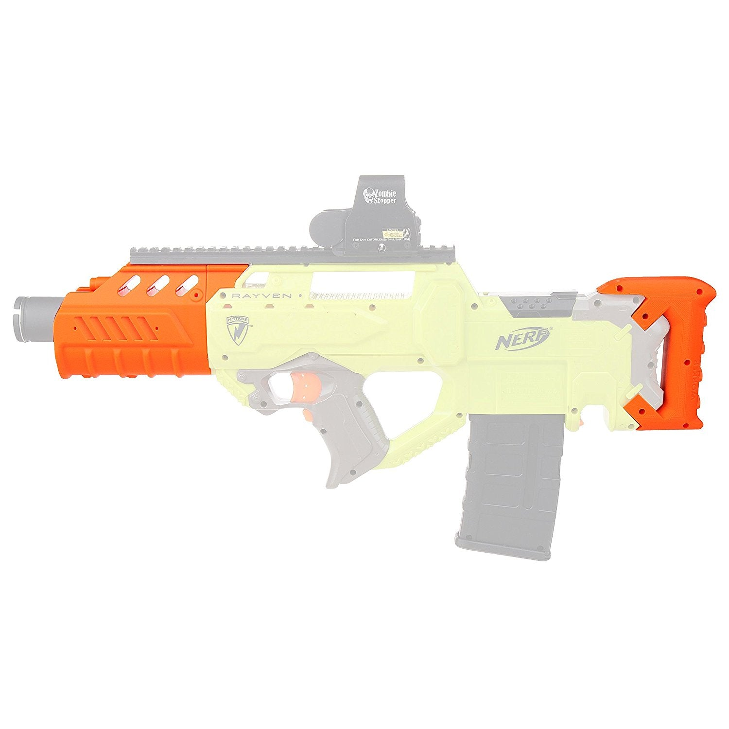 JGCWorker f10555 No.200 3D Printing Modularized Kit for Nerf N-Strike Rayven CS-18 Blaster Color Orange - Nerf Mod Kits -Worker Mod Kits