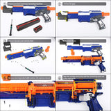 WORKER Paratroops Short Dart Mod Kit and Connector Set for NERF N-Strike Exclusive Elite Alpha Trooper CS-12