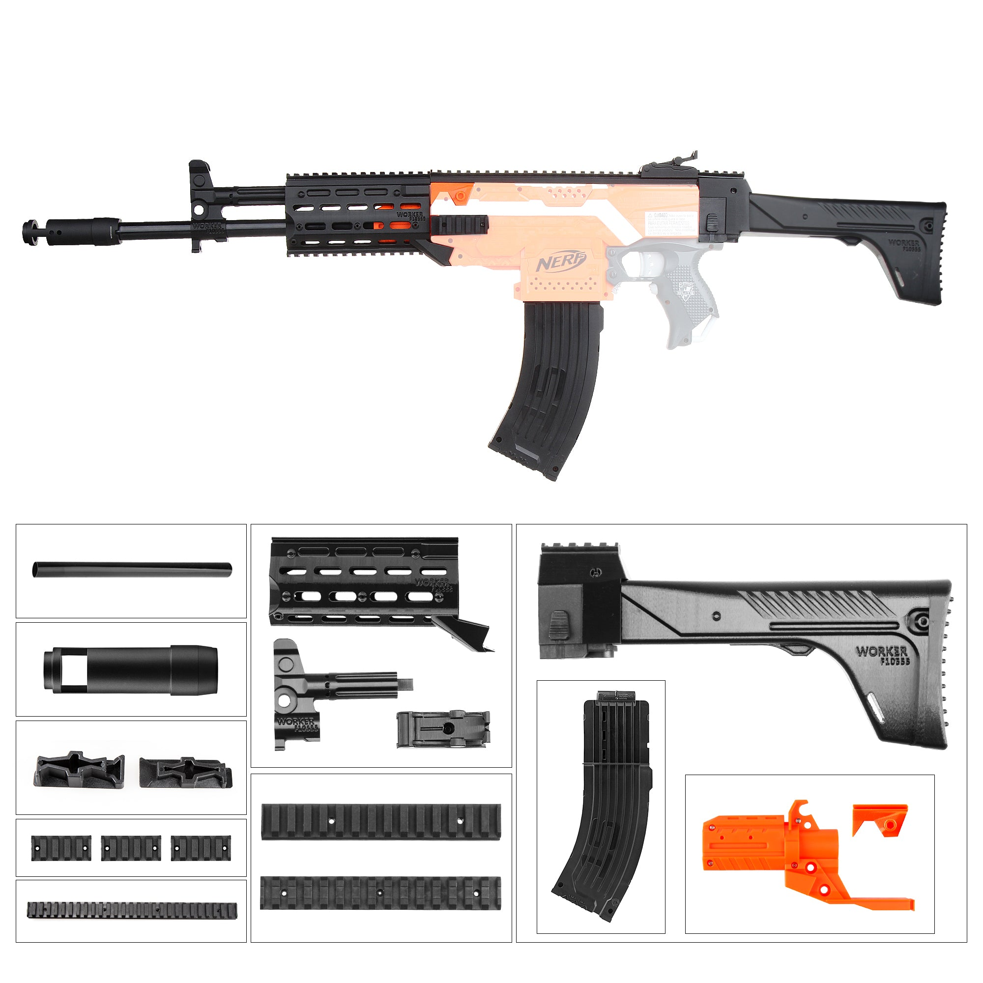 JGCWorker STF-W001-A AK-12 A Style Mod Kits Set With Orange Adaptor for Nerf N-Strike Elite Stryfe Blaster - Nerf Mod Kits -Worker Mod Kits