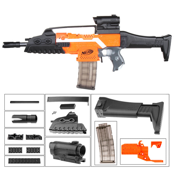JGCWorker STF-W009 XM8 Mod Kits Set With Orange Adaptor And Short Front Tube for Nerf N-Strike Elite Stryfe Blaster - Nerf Mod Kits -Worker Mod Kits