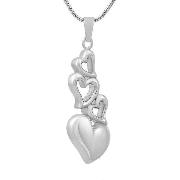 Cremation Necklace - 4 Heart Cremation Urn Necklace