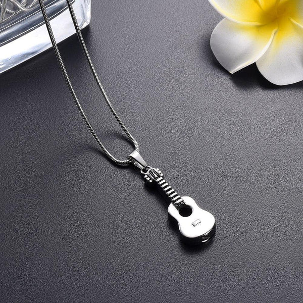 Cremation Necklace - Acoustic Guitar Cremation Urn Necklace