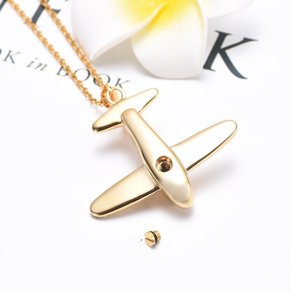 Cremation Necklace - Airplane Shaped Cremation Urn Necklace