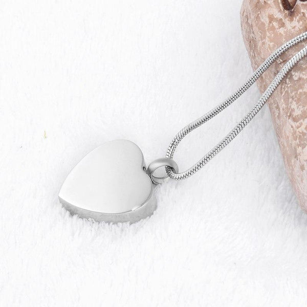 "Cremation Necklace - ""Always By My Side' Engraved Silver Heart Cremation Urn Necklace"