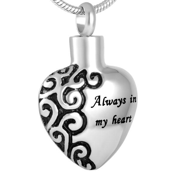 "Cremation Necklace - ""Always In My Heart"" Silver Heart Cremation Necklace"
