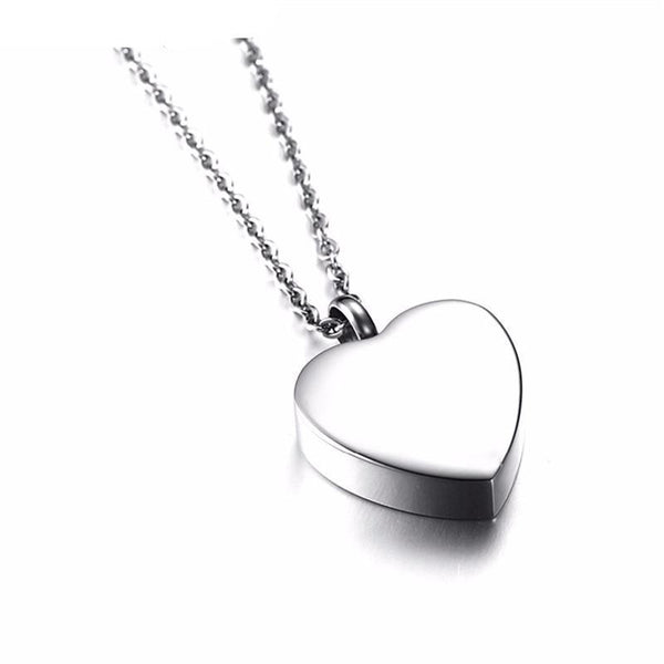 "Cremation Necklace - ""Always In My Heart"" Silver Heart Urn Necklace"