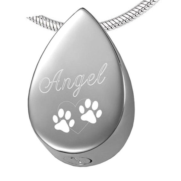 "Cremation Necklace - ""Angel"" Engraved Teardrop Pet Cremation Urn Necklace With Paws"