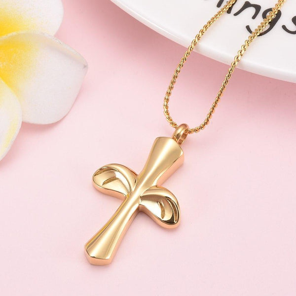Cremation Necklace - Angel Wing Cross Cremation Urn Necklace