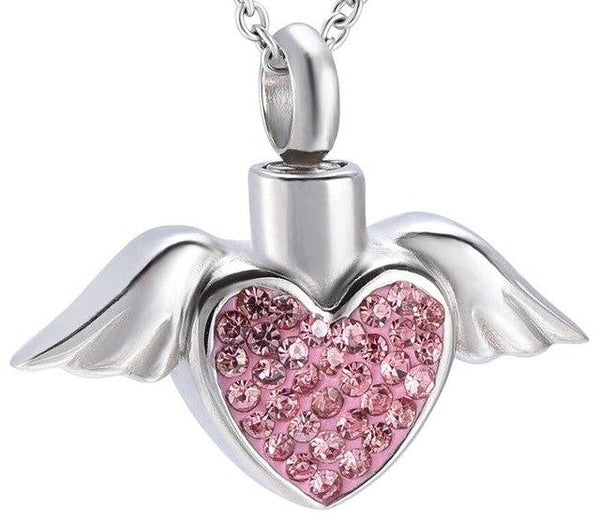 Cremation Necklace - Angel Wings And Rhinestones Heart Cremation Urn Necklace