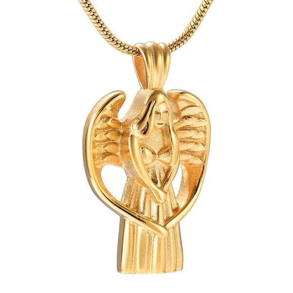 Cremation Necklace - Angel With Wings Cremation Urn Necklace