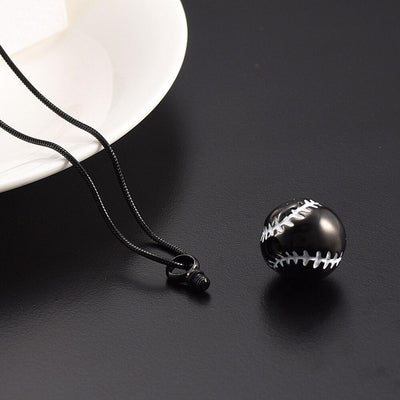 Cremation Necklace - Baseball Shaped Cremation Urn Necklace