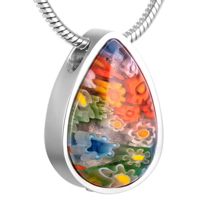 Cremation Necklace - Beautiful Murano Teardrop Cremation Urn Necklace
