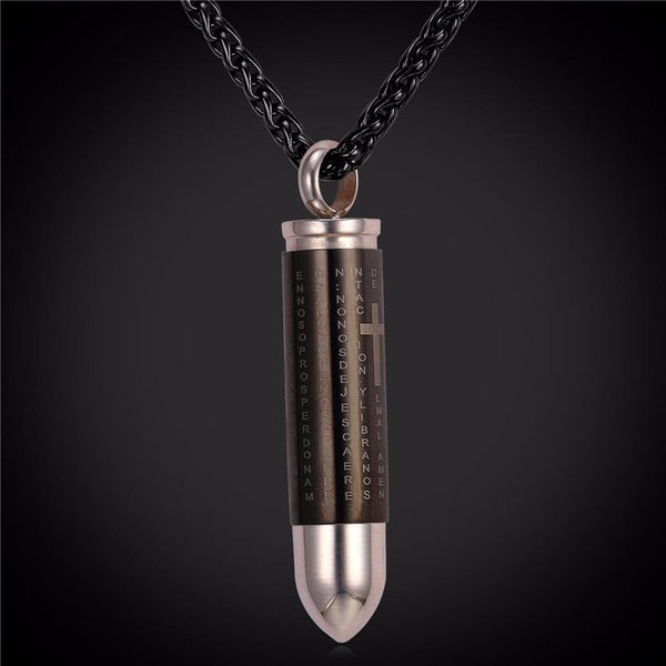 Cremation Necklace - Black Bullet Cremation Urn Necklace With Engraved Cross & Bible Verse