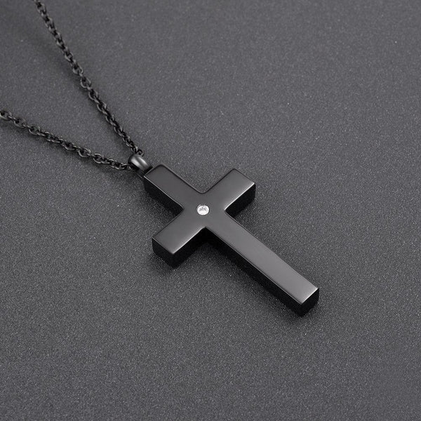 Cremation Necklace - Black Classic Design Cross Cremation Urn Necklace With Rhinestone