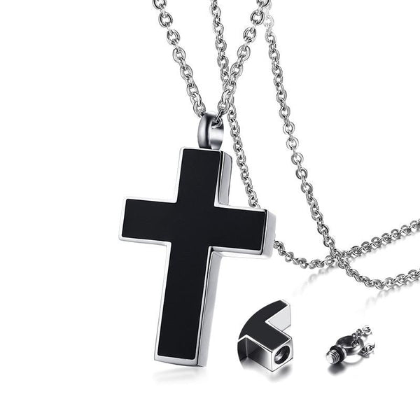 Cremation Necklace - Black Cross Cremation Urn Necklace