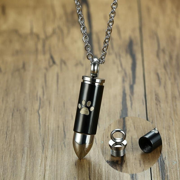 Cremation Necklace - Bullet Shaped Pet Cremation Necklace
