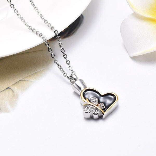 Cremation Necklace - Butterfly & Heart Cremation Urn Necklace With Rhinestones