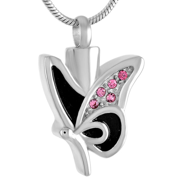 Cremation Necklace - Butterfly Shaped Cremation Urn Necklace With Rhinestones
