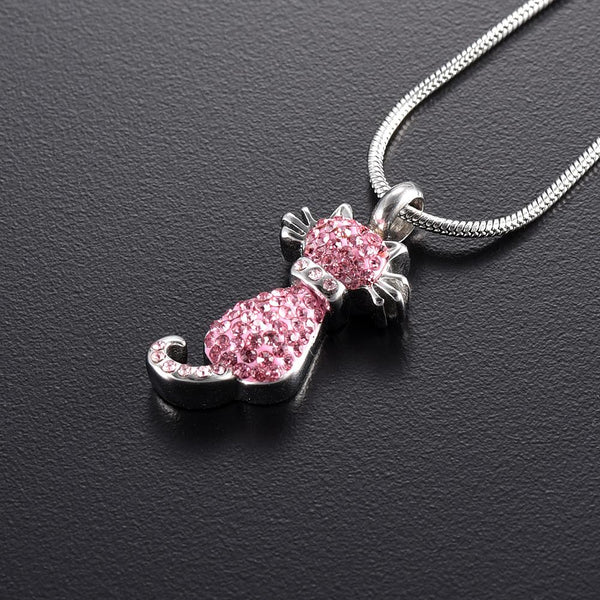 Cremation Necklace - Cat Cremation Urn Necklace With Rhinestones