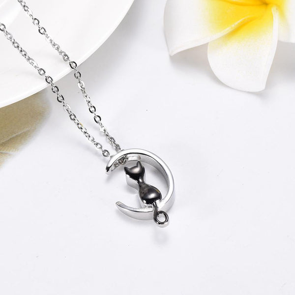 Cremation Necklace - Cat & Crescent Moon Cremation Urn Necklace
