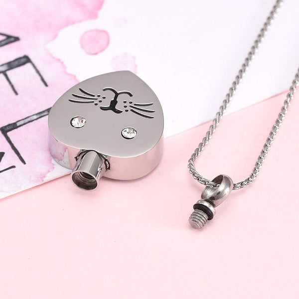 Cremation Necklace - Cat Face With Rhinestone Eyes Cremation Urn Necklace