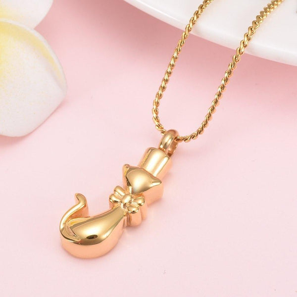 Cremation Necklace - Cat With Bowtie Cremation Urn Necklace