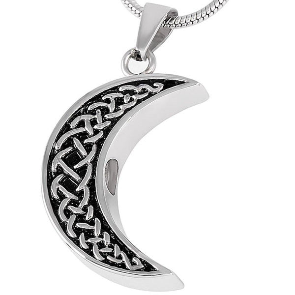 Cremation Necklace - Celtic Crescent Moon Cremation Urn Necklace