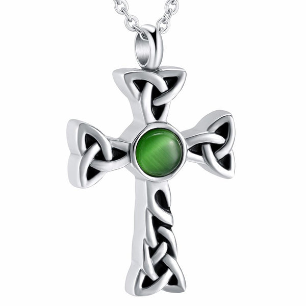 Cremation Necklace - Celtic Cross With Green Rhinestone Cremation Urn Necklace